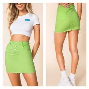 Superdown Alix Distressed Denim Skirt Neon Green
